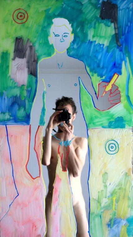 [øRø] Florian Clerc - PHANTASMA IN FARER (détail) - 2016 - Feutre sur miroir - 183 x 50