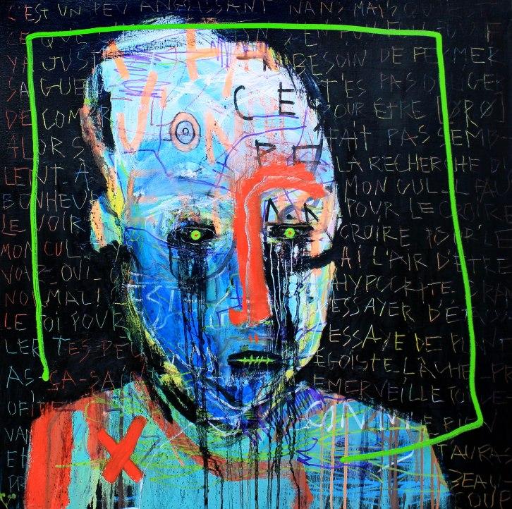 [øRø] Florian Clerc - BOX - 2016 - peinture - Huile et feutre sur toile - 100 x 100
