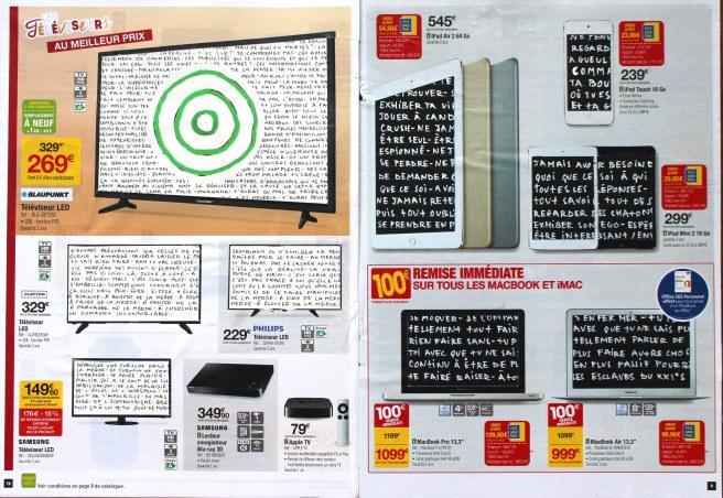 [øRø] Florian Clerc -DES ÉCRANS DES ÉCRIS - 2016 - feutre collage sur magazine publicitaire - 30 x 42